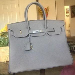 Handbags - Pebbled leather satchel Hermès Birkin inspired!
